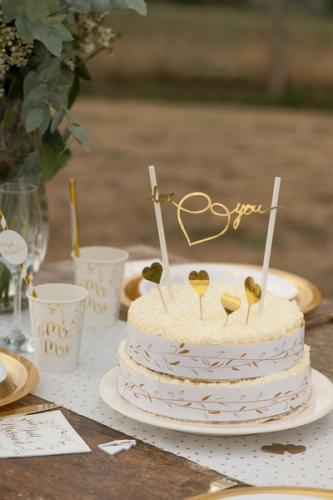 Cake topper en carton Just Married métallisé doré 3 x 7 cm-1