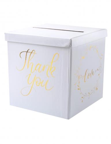 Urne en carton Just Married blanc et doré métallisé 20 cm