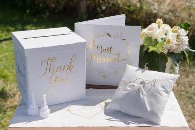 Urne en carton Just Married blanc et doré métallisé 20 cm-1