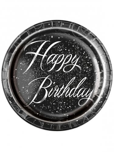 8 Assiettes en carton happy birthday noires et argents 23 cm