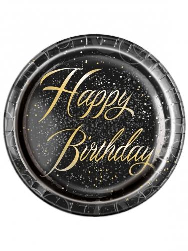 8 Assiettes en carton happy birthday noires et or 22 cm