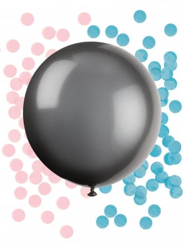 Ballon en latex géant noir baby shower avec confettis 60 cm