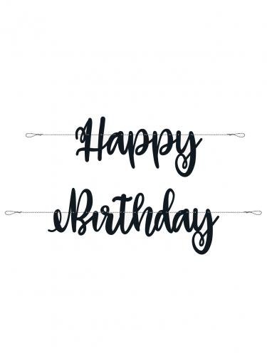 Guirlande en carton happy birthday noire 2,13 m