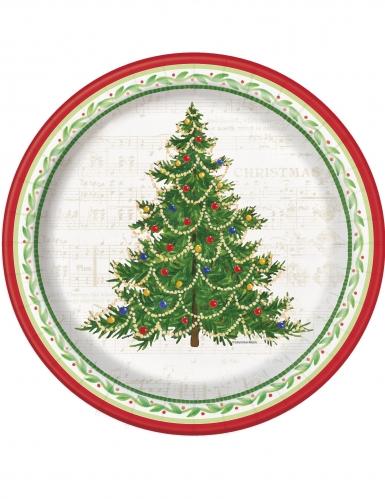 8 Assiettes en carton Arbre de Noël 25 cm