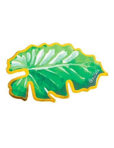 6 Marques places en carton feuilles vertes et dorées 10 x 6 cm