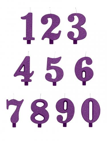 Bougie anniversaire chiffre violette pailletée 9,5 cm-1