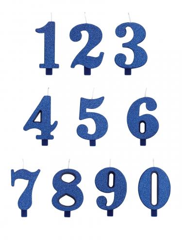 Bougie anniversaire chiffre bleue pailletée 9,5 cm-1