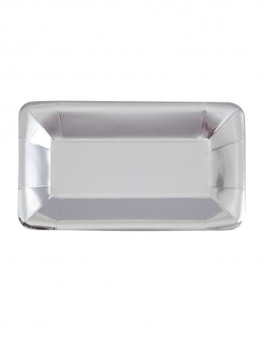 8 Plateaux apéritifs en carton argentés métallisés 22 x 13 cm