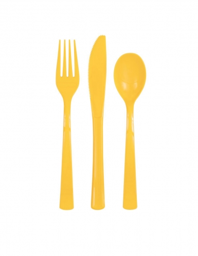 18 Couverts en plastique jaunes