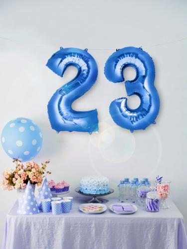 Ballon aluminium chiffre bleu 85 cm-2