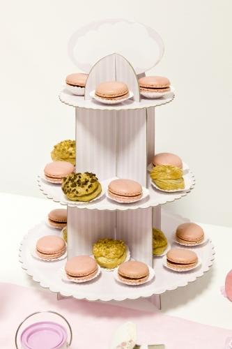 Présentoir à cupcake en carton blanc et rose 30 x 42 cm-1