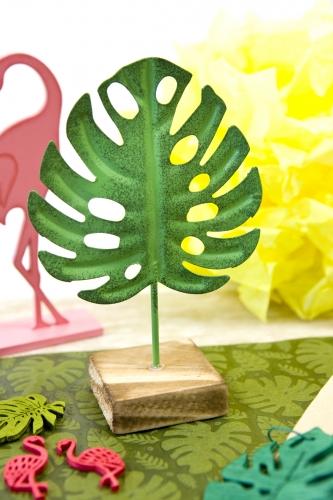 1 Feuille tropicale en métal sur socle en bois verte 15 cm-1