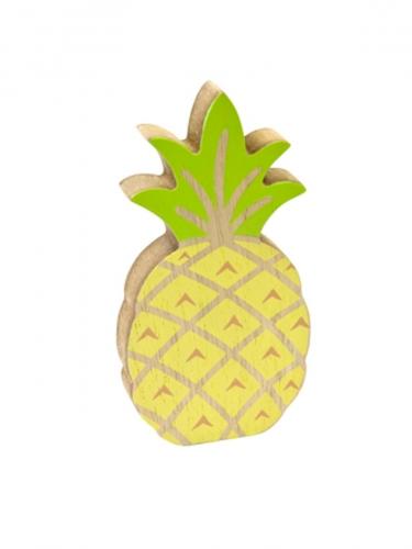 Décoration ananas en bois jaune et vert 12 cm
