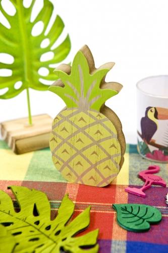 Décoration ananas en bois jaune et vert 12 cm-1