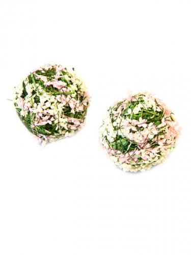 4 Boules décoratives fleurs naturelles blanches et roses 5 cm