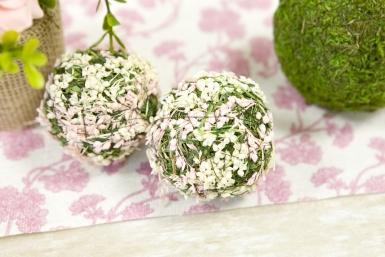 4 Boules décoratives fleurs naturelles blanches et roses 5 cm-1