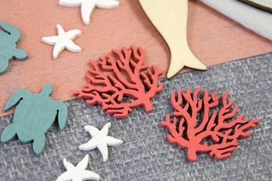 12 Confettis en bois corail rouge 4 cm-1