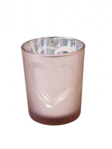 Photophore en verre cœur rose gold 6,8 x 5,8 cm
