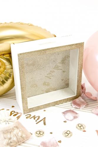 Boîte à messages en bois dorée 18 x 7 cm-1