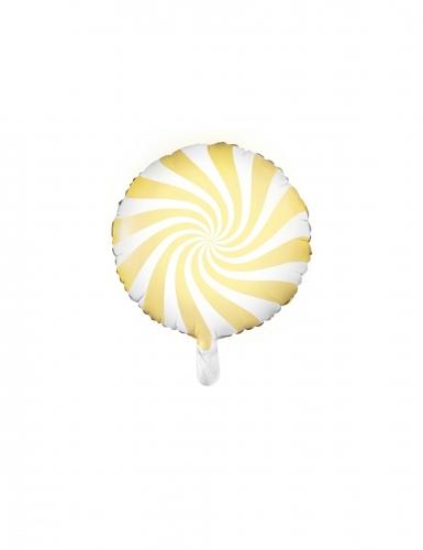 Ballon aluminium sucette jaune et blanc 45 cm