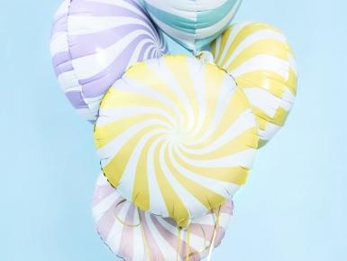 Ballon aluminium sucette jaune et blanc 45 cm-1