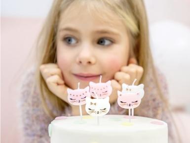 6 Bougies d'anniversaire chaton blanches et roses 2 cm-1