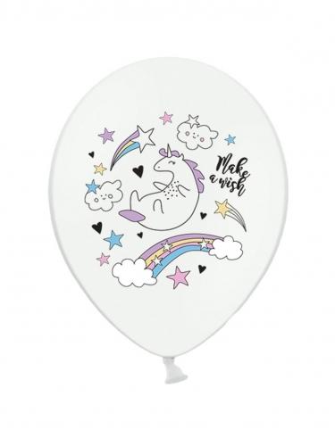 6 Ballons en latex licorne blanche 30 cm