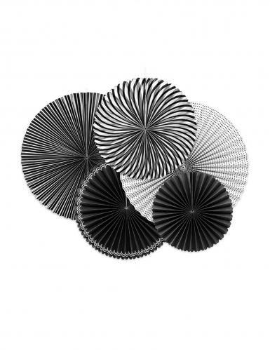 5 Rosaces en papier noires et blanches 25, 32 et 40 cm
