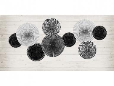 5 Rosaces en papier noires et blanches 25, 32 et 40 cm-1