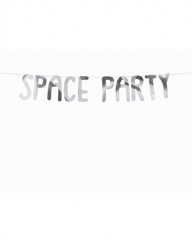 Guirlande en carton space party argentée 13 x 96 cm