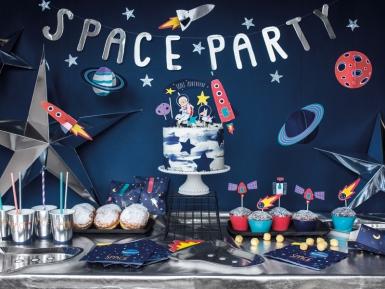 Guirlande en carton space party argentée 13 x 96 cm-1