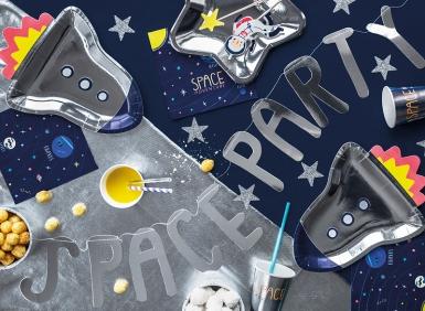 Guirlande en carton space party argentée 13 x 96 cm-2