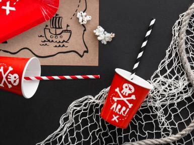 6 Gobelets en carton fête de pirate rouges 220 ml-1