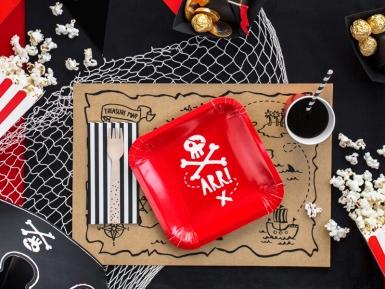 6 Assiettes en carton fête de pirate rouges 20 cm-1