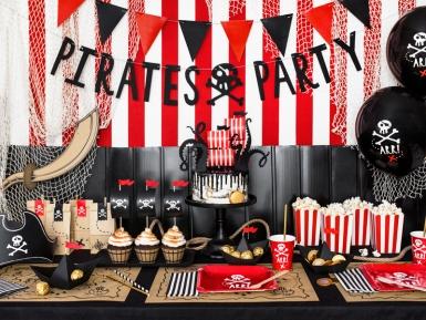 6 Assiettes en carton fête de pirate rouges 20 cm-3