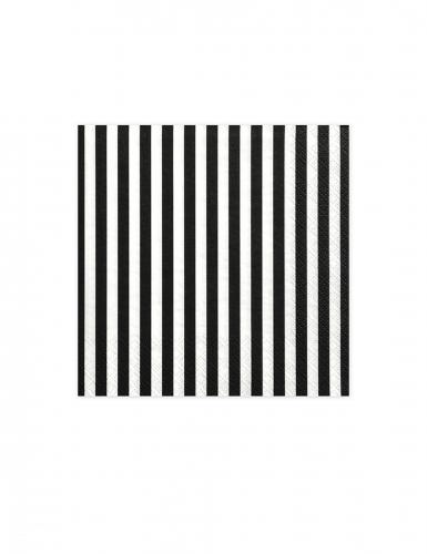 20 Serviettes en papier rayées noires et blanches 33 x 33 cm