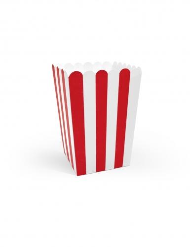 6 Boîtes à popcorn en carton rouges et blanches 7 x 12,5 cm