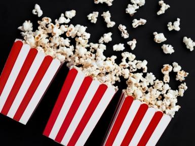 6 Boîtes à popcorn en carton rouges et blanches 7 x 12,5 cm-1