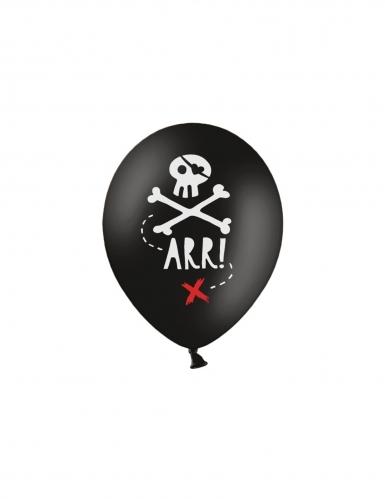 6 Ballons en latex fête de pirate noirs 30 cm