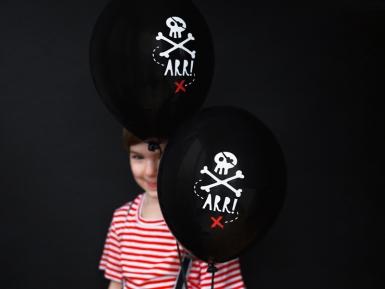 6 Ballons en latex fête de pirate noirs 30 cm-1
