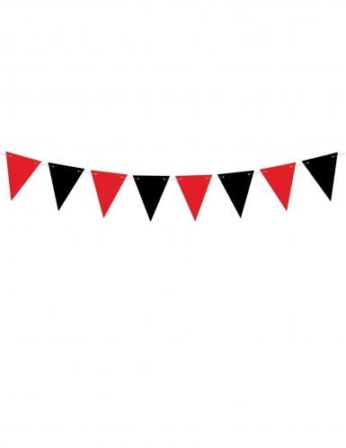 Guirlande de fanions en carton noire et rouge 15 cm x 1,3 m