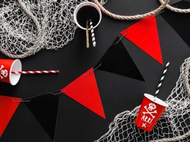 Guirlande de fanions en carton noire et rouge 15 cm x 1,3 m-1