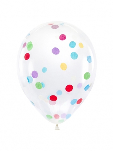 6 Ballons en latex transparents avec confettis multicolores 30 cm