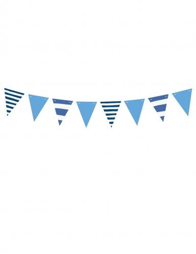 Guirlande de fanions en carton bleue et blanche 14 cm x 1,3 m