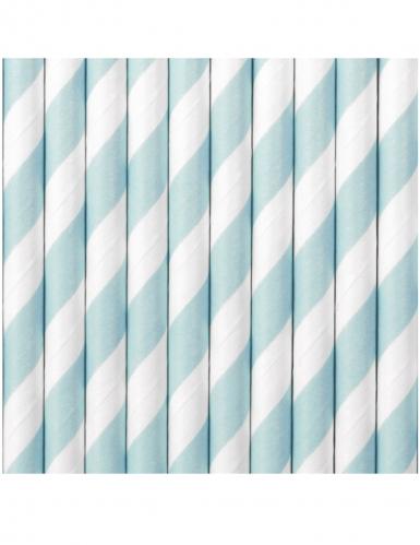 10 Pailles en carton rayées bleu ciel et blanches 19,5 cm-1
