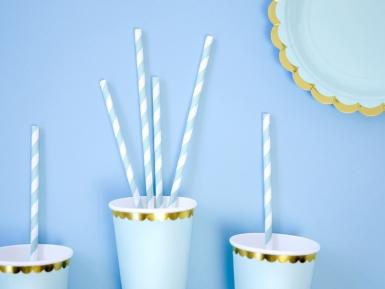 10 Pailles en carton rayées bleu ciel et blanches 19,5 cm-3
