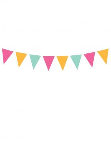 Guirlande de fanions en carton couleurs vives 15 cm x 1,3 m