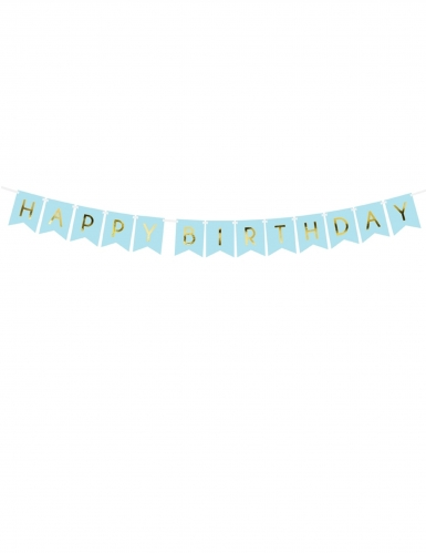 Guirlande en carton happy birthday bleue et métallisée 15 x 175 cm