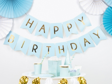Guirlande en carton happy birthday bleue et métallisée 15 x 175 cm-1