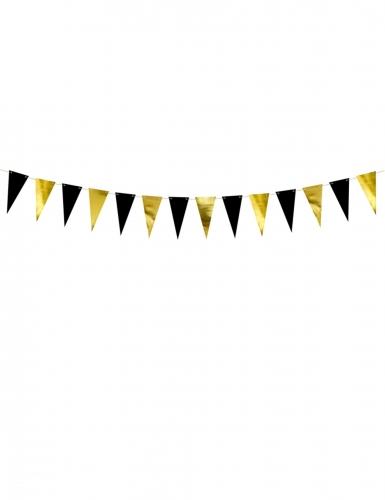 Guirlande de fanions en carton noires et dorées 13 x 215 cm